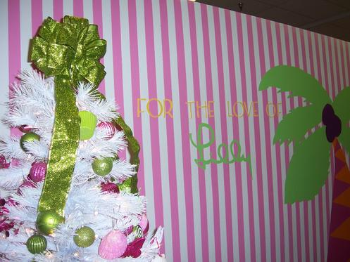 Pink & Green Christmas Tree in Queen of Prep: Lilly Pulitzer Rousseau